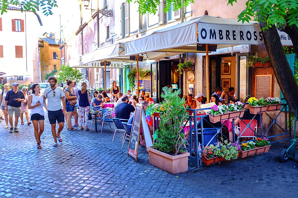 People sitting outside a bar in the evening, Trastevere district, Rome, Lazio, Italy, Europe
