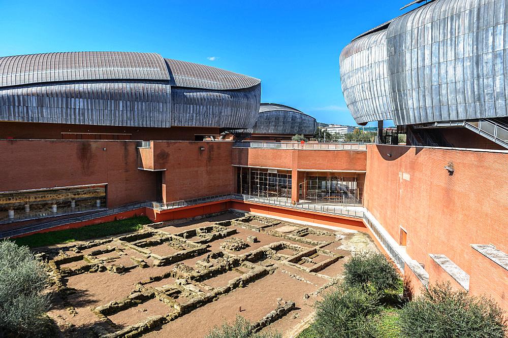 Auditorium Parco della Musica is a large multi-functional public music complex, designed by Italian architect Renzo Piano, Rome, Lazio, Italy, Europe