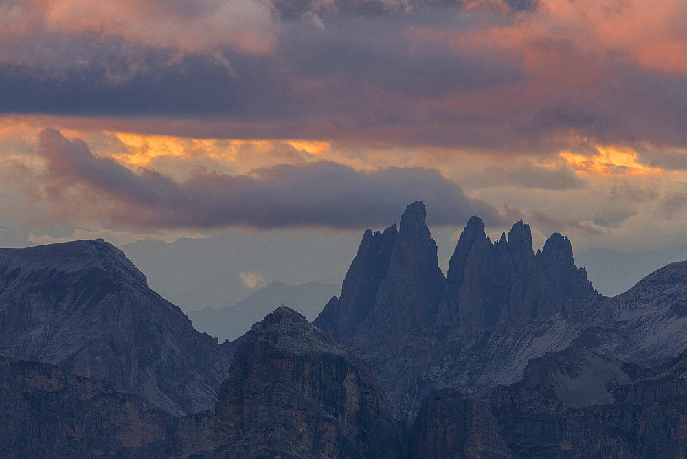 Sunrise over the Geisler (Odle) and Puez mountains in South Tyrol. The Dolomites are listed as UNESCO World heritage. europe, central europe, italy