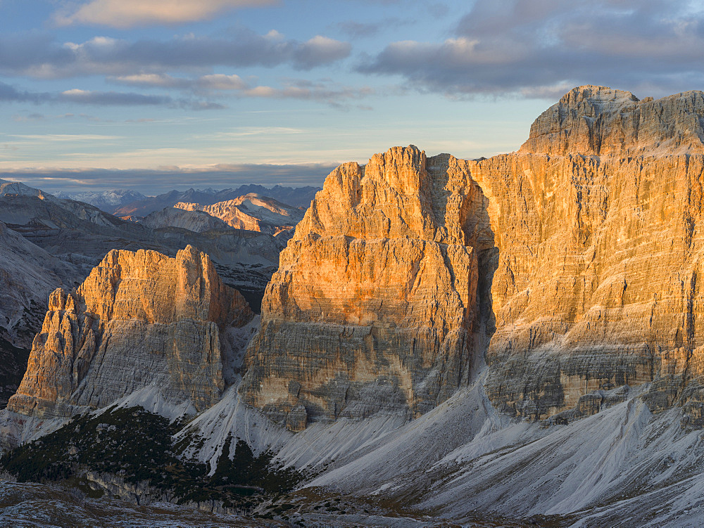 The Fanes Mountains in the Dolomites.   The Dolomites are listed as UNESCO World heritage. europe, central europe, italy,  october