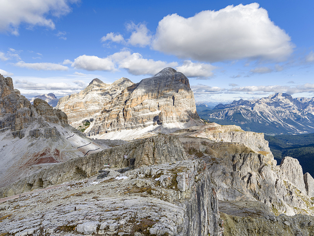 Emplacements of the Austrian forces during  World War 1 at Mount Lagazuoi in the Dolomites, now preserved as a museum. The peaks of the Tofane in the background. The Dolomites are listed as UNESCO World heritage. europe, central europe, italy,  october