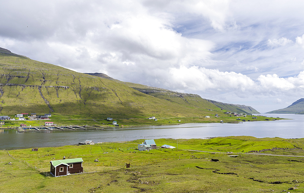 View from Streymoy to Eysturoy over the Sundini and village Oyrarbakki. The island Streymoy, North Atlantic, Europe, Northern Europe, Denmark, Faroe Islands