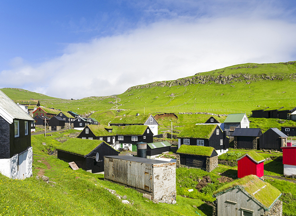 The village on the island Mykines, part of the Faroe Islands in the North Atlantic, Denmark, Northern Europe