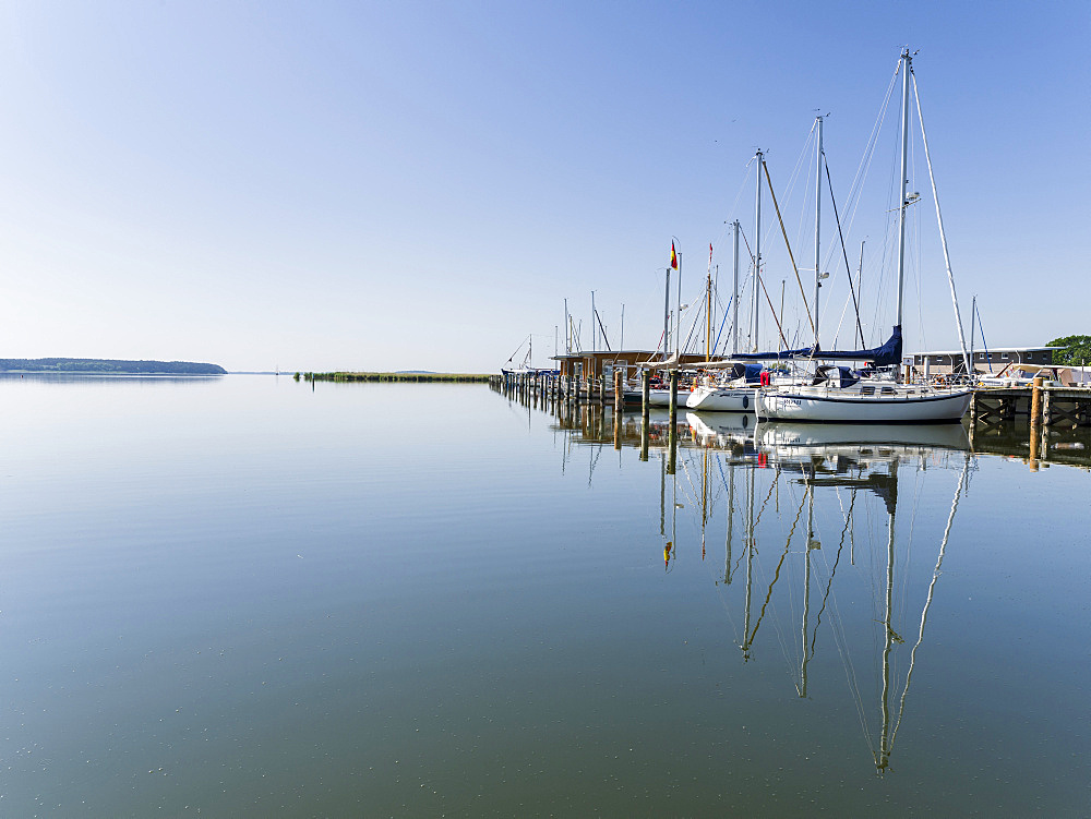 The Marina in  Krummin at the shore of the Krumminer Wieck on the island of  Usedom. Europe,Germany, Mecklenburg-Western Pomerania, Usedom, June