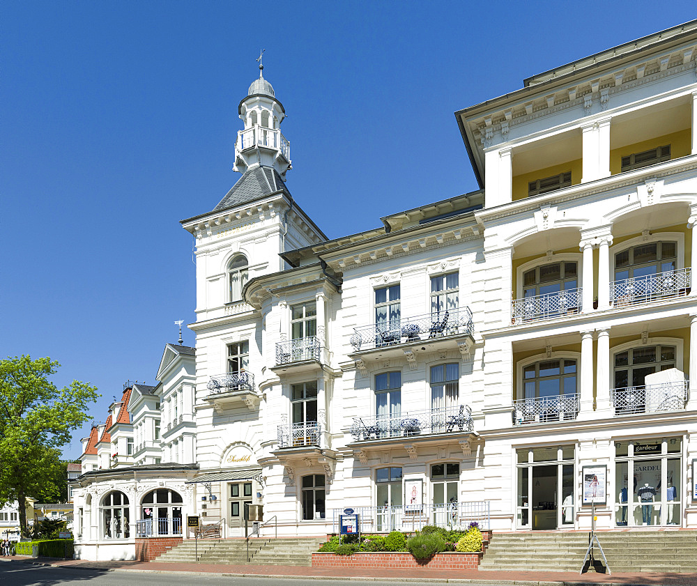 German resort architecture (Baederarchitektur) in the seaside resort Heringsdorf on the island of Usedom.  Europe,Germany, Mecklenburg-Western Pomerania, Usedom, June
