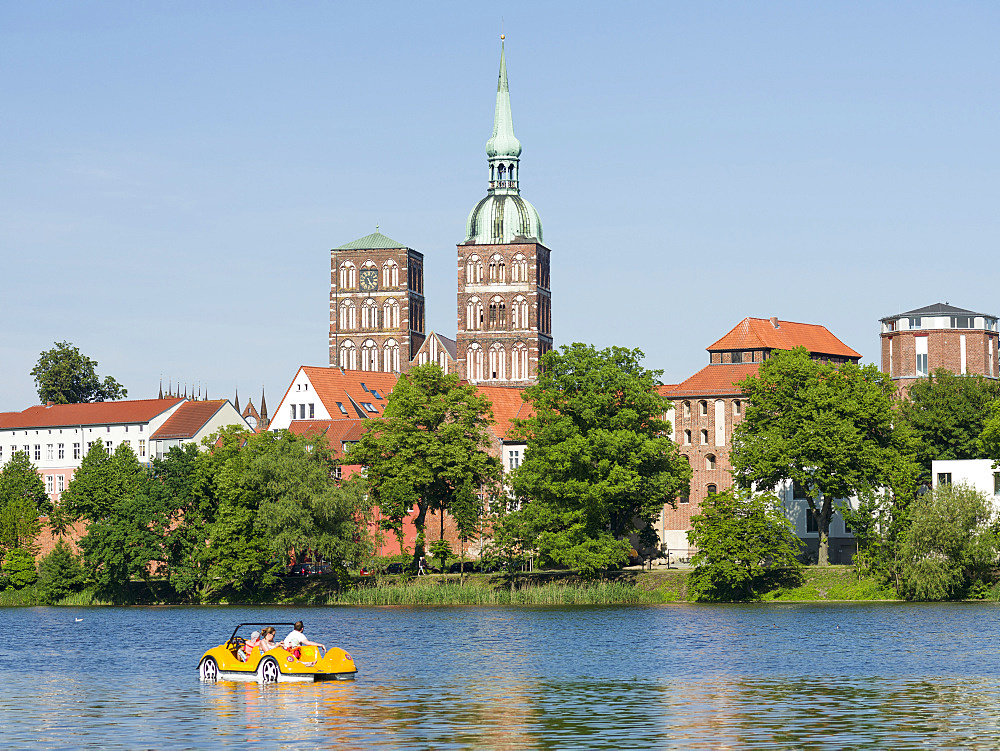 Cityscape of Stralsund with the pond Knieperteich. The Hanseatic City Stralsund. The old town is listed as UNESCO World Heritage. Europe, Germany, West-Pomerania, June