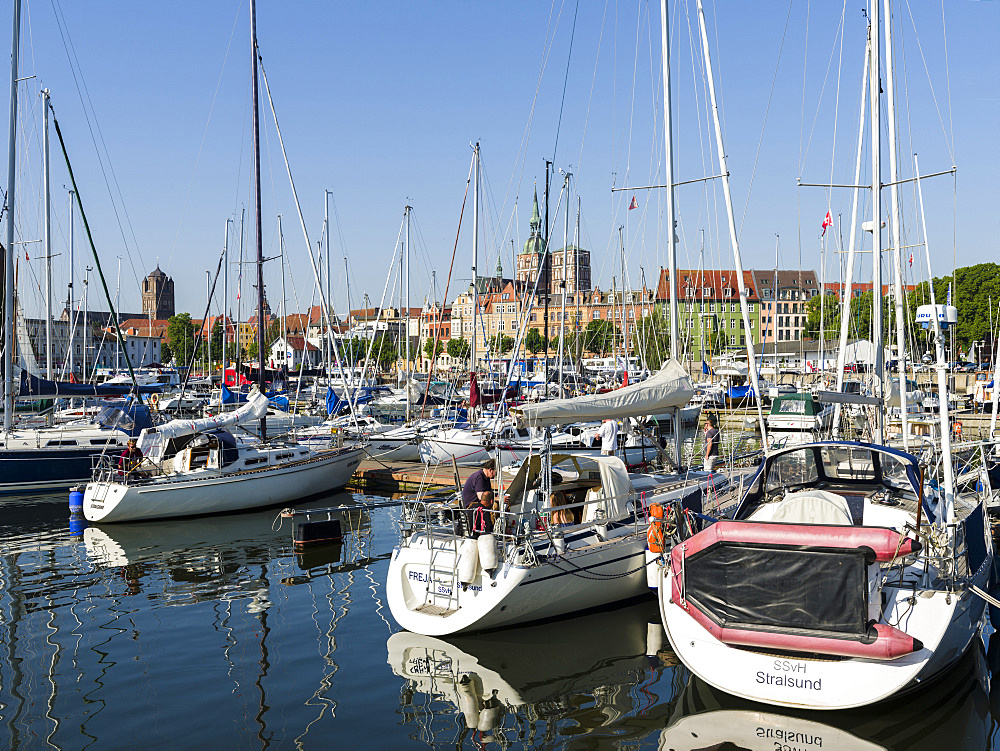 The marina at the Strelasund. The Hanseatic City Stralsund. The old town is listed as UNESCO World Heritage. Europe, Germany, West-Pomerania, June