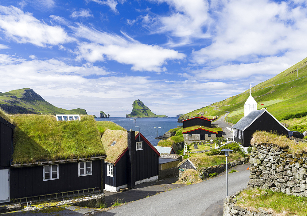 Bour (Boeur), a traditional village at Sorvagsfjordur.  The island Vagar, part of the Faroe Islands in the North Atlantic.  Europe, Northern Europe, Denmark, Faroe Islands