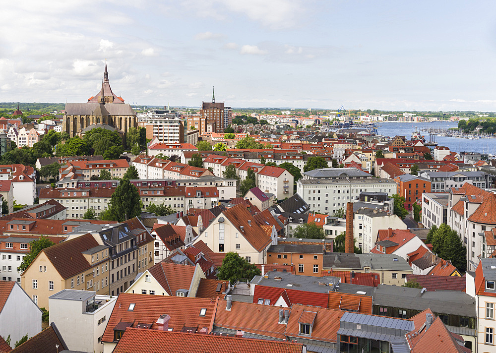 The hanseatic city of Rostock at the coast of the german baltic sea.  Europe,Germany, Mecklenburg-Western Pomerania, June