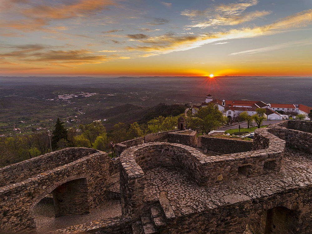 Sunrise over Marvao a famous medieval mountain village and tourist attraction in the Alentejo.  Europe, Southern Europe, Portugal, Alentejo