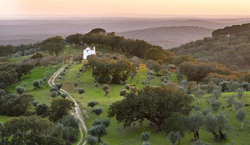 Landscape near village Evoramonte in the  Alentejo.  Europe, Southern Europe, Portugal, Alentejo
