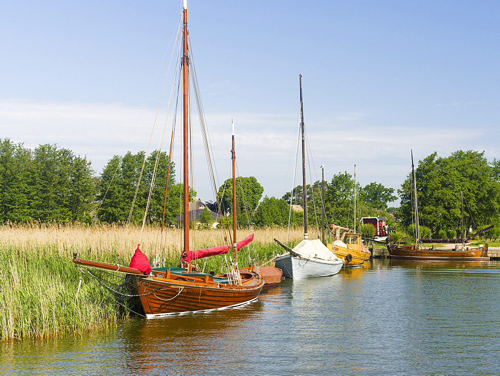 The old Harbour in Wieck at the  Bodstedter Bodden close to the Western Pomerania Lagoon Area NP. Europe, Germany, West-Pomerania, June