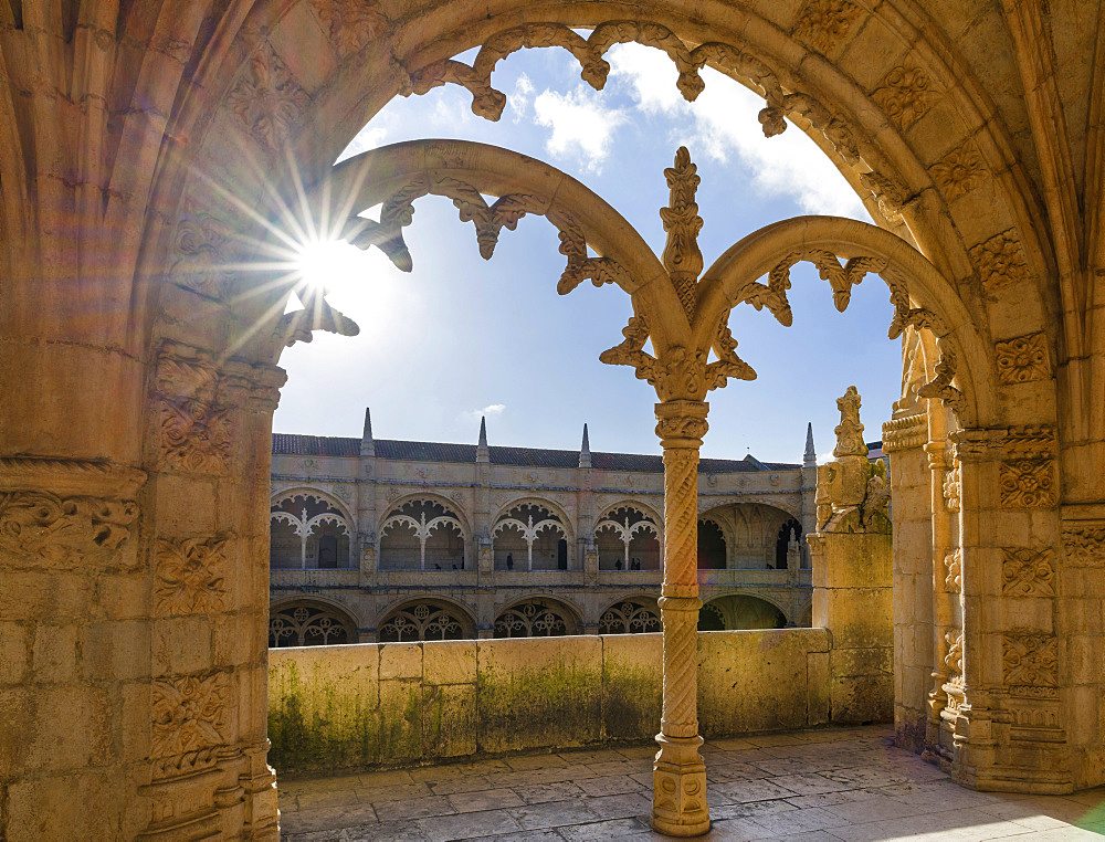 Jeronimos Monastery in Belem, part of the UNESCO world heritage, The two storied square cloister with Manueline motives, Lisbon, Portugal, Europe - 746-88197