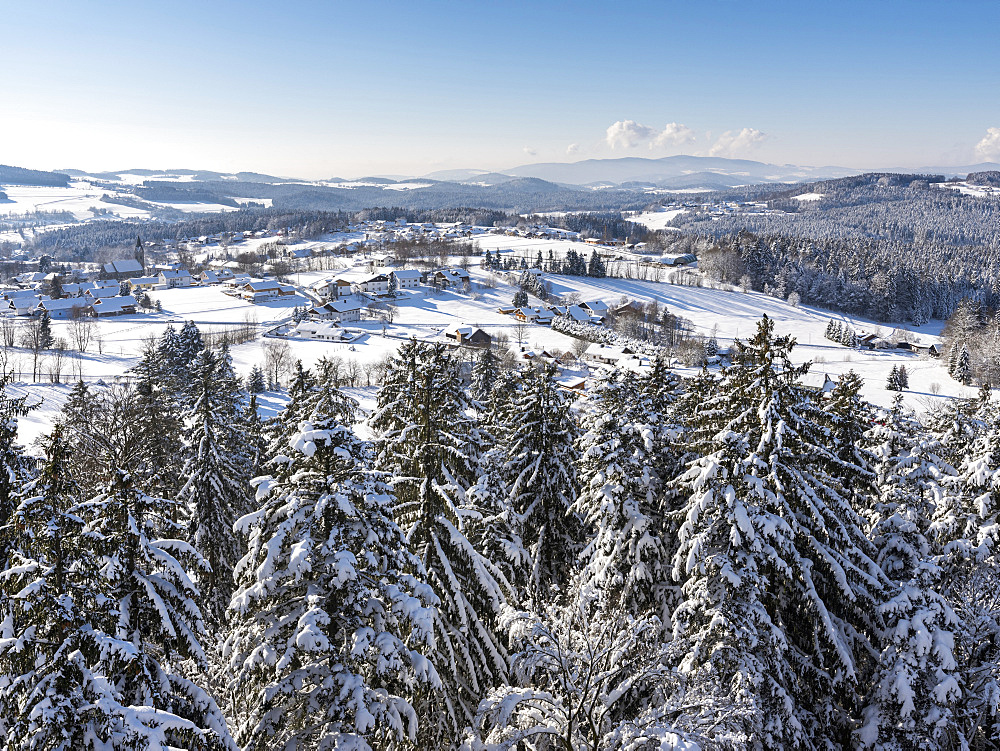 National Park Bavarian Forest (Bayerischer Wald) in the deep of winter. View of village Neuschoenau. Europe, Germany, Bavaria, January