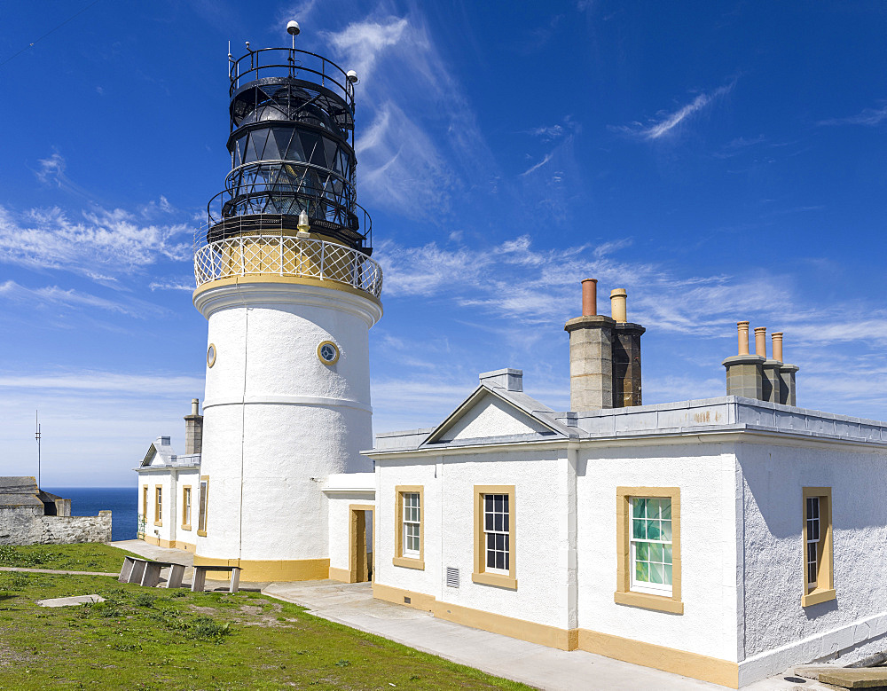 Sumburgh Head Lighthouse, the lighthouse at Sumburgh Head on the Shetland Islands in Scotland, it was buildt by Robert Stevenson in 1821.   Europe, northern europe, great britain, scotland, Shetland Islands, June