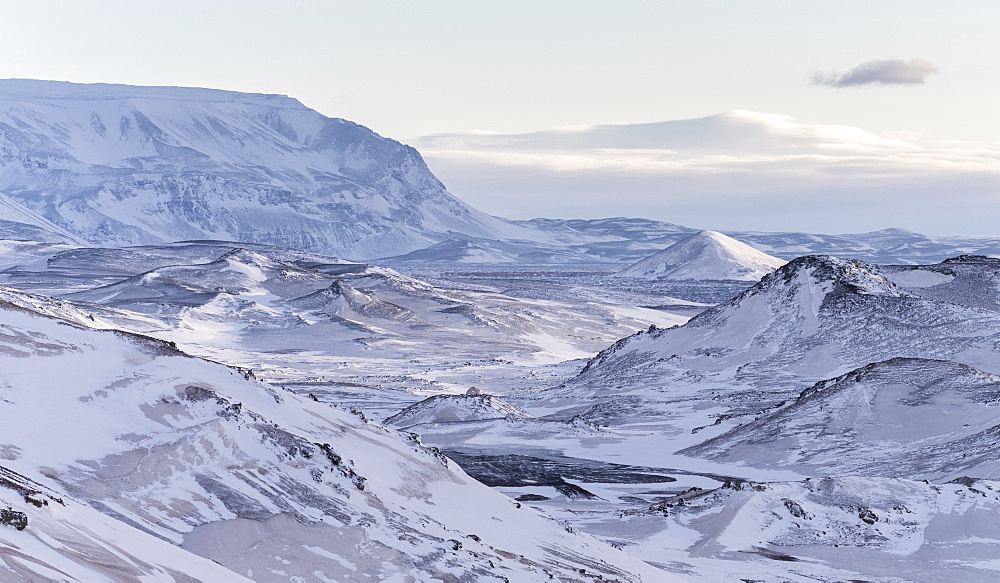 landscape in the highland of Iceland during winter close to lake Myvatn. europe, northern europe, iceland,  February - 746-88232