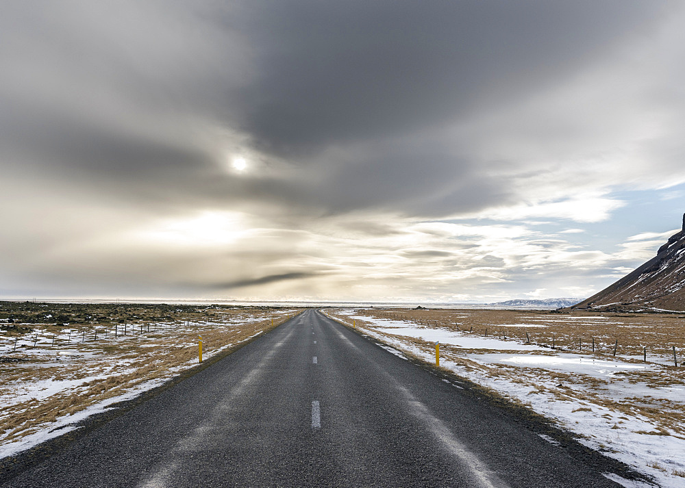 Ring road near Skeitherarsandur during winter. europe, northern europe, iceland,  February