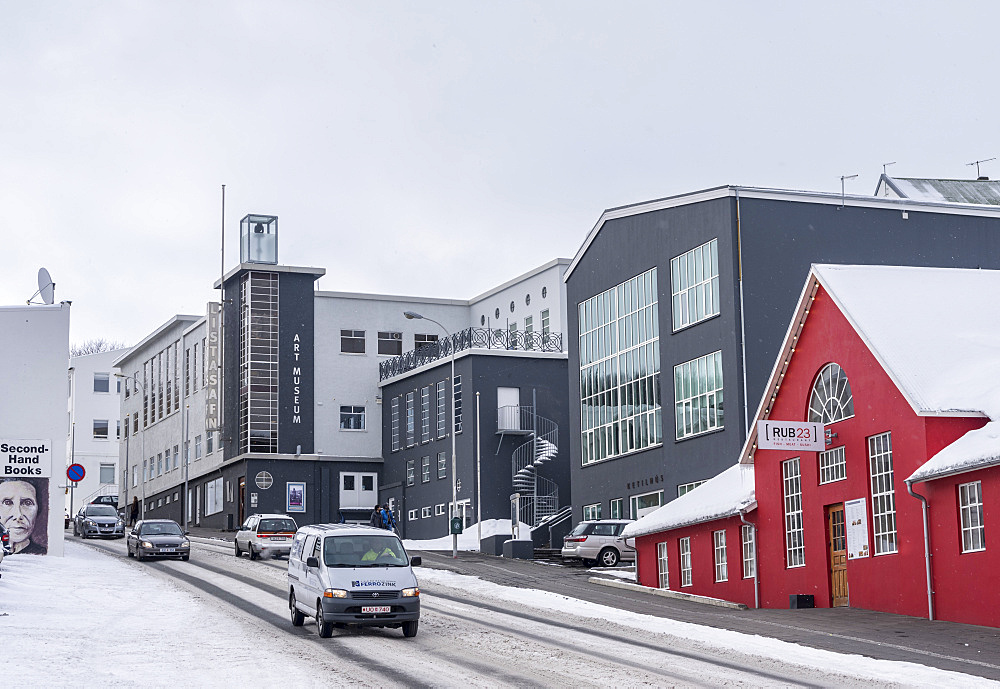 Akureyri during winter. The town center and the Museum of Art buildt in the typical icelandic version of Bauhaus architecture. Akureyri  is Icelands second largest city, second only the Reykjavik area. europe, northern europe, iceland,  March