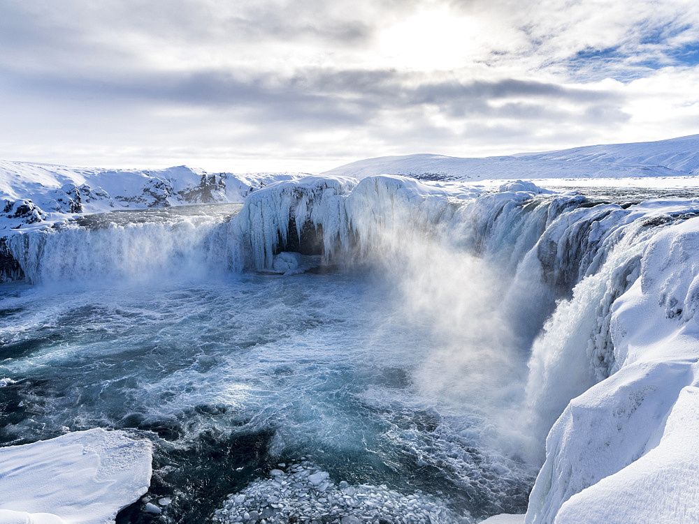 Godafoss one of the iconic waterfalls of Iceland during winter. europe, northern europe, iceland,  March - 746-88248