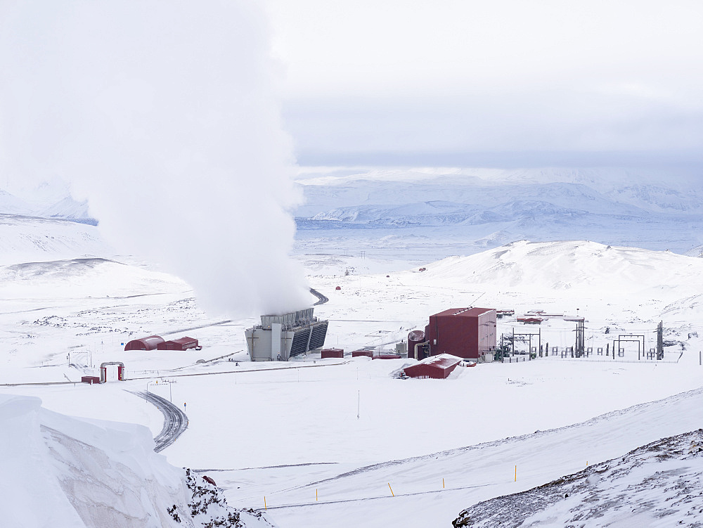 Geothermal power plant Kroefluvirkjun near the vulcano Krafla and lake Myvatn in the snowy highlands of wintery Iceland.  europe, northern europe, iceland,  February