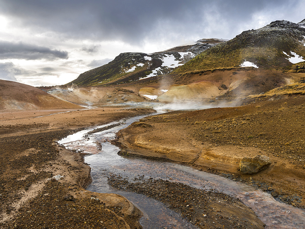 Geothermal area Seltun heated by the vulcano Krysuvik on Reykjanes peninsula during winter. europe, northern europe, iceland,  February