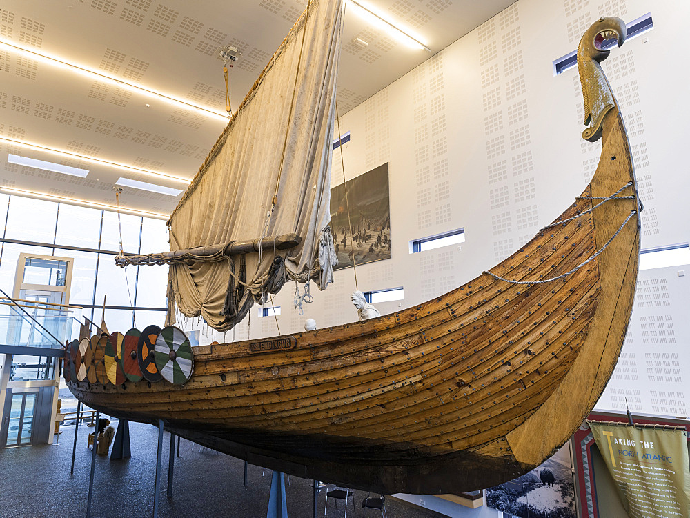 Vikingaheimar (Viking Wolrd), museum in Keflavik displaying a seaworthy replica of a magnificent Viking Ship called  Islendingur.  europe, northern europe, iceland,  February