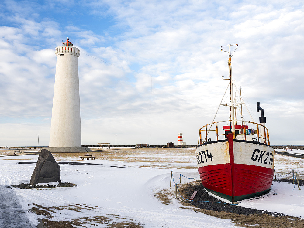 Cape Gardskagi with lighthouse and local museum during winter on the Reykjanes peninsula. europe, northern europe, iceland,  February
