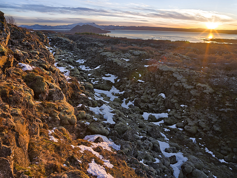 Thingvellir National Park in Iceland during winter. Thingvellir is listed as UNESCO world heritage site. Sunset over lake Thingvallavatn. europe, northern europe, scandinavia, iceland,  March