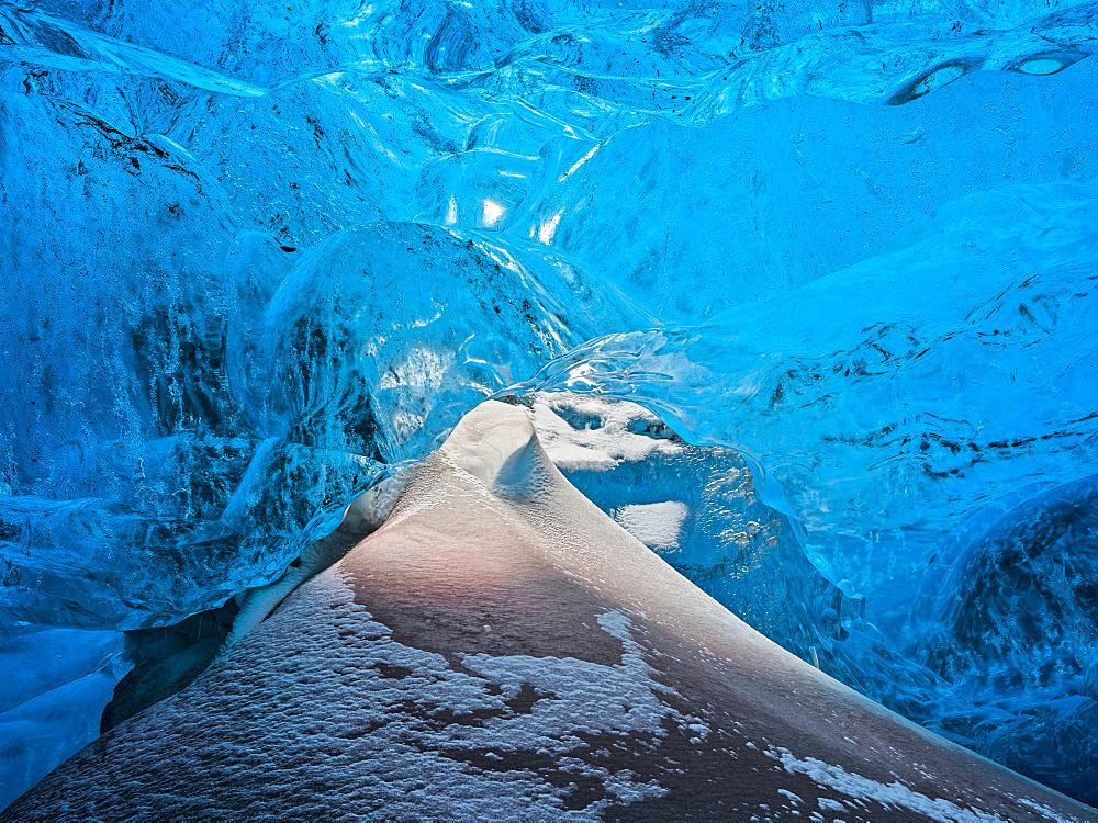 Glacial cave in the Breidamerkurjoekull Glacier in Vatnajoekull National Park. europe, northern europe, iceland,  February