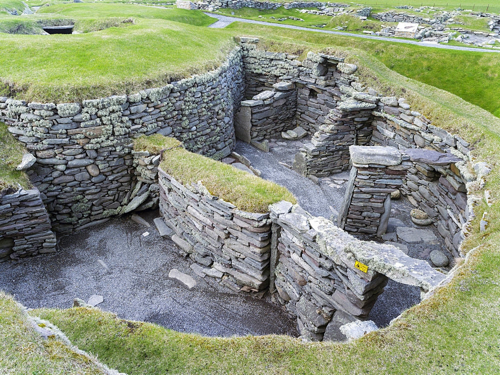 Jarlshof, an archaeological site on the Shetland Islands, which was inhabited from neolithic times to the middle ages.Wheelhouses dating back to the Iron Age.   Europe, Great Britain, Scotland, Northern Isles, Shetland, May