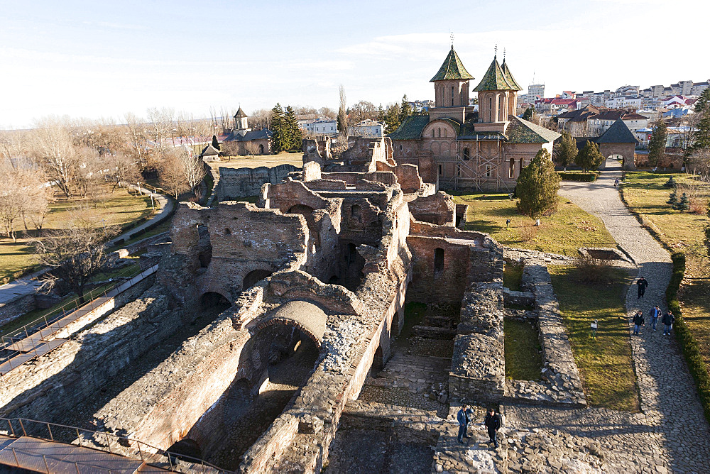 The ruins of the princely court in Targoviste. The princely court (curtea palace) was the first residence of Vlad Tepes aka Dracula. europe, eastern europe, romania, carpathian mountains, january