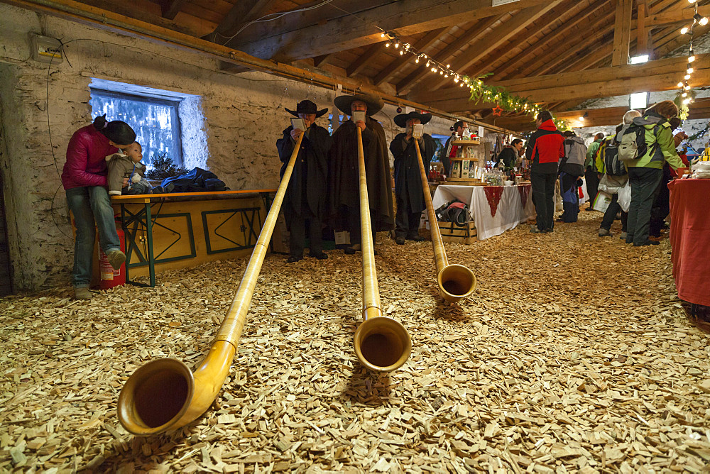 Musicans in traditional garment playing the Alphorn or Alpenhorn on a Christmas Market in Martell Valley (Martello). Europe, Central Europe, Italy, South Tyrol, December