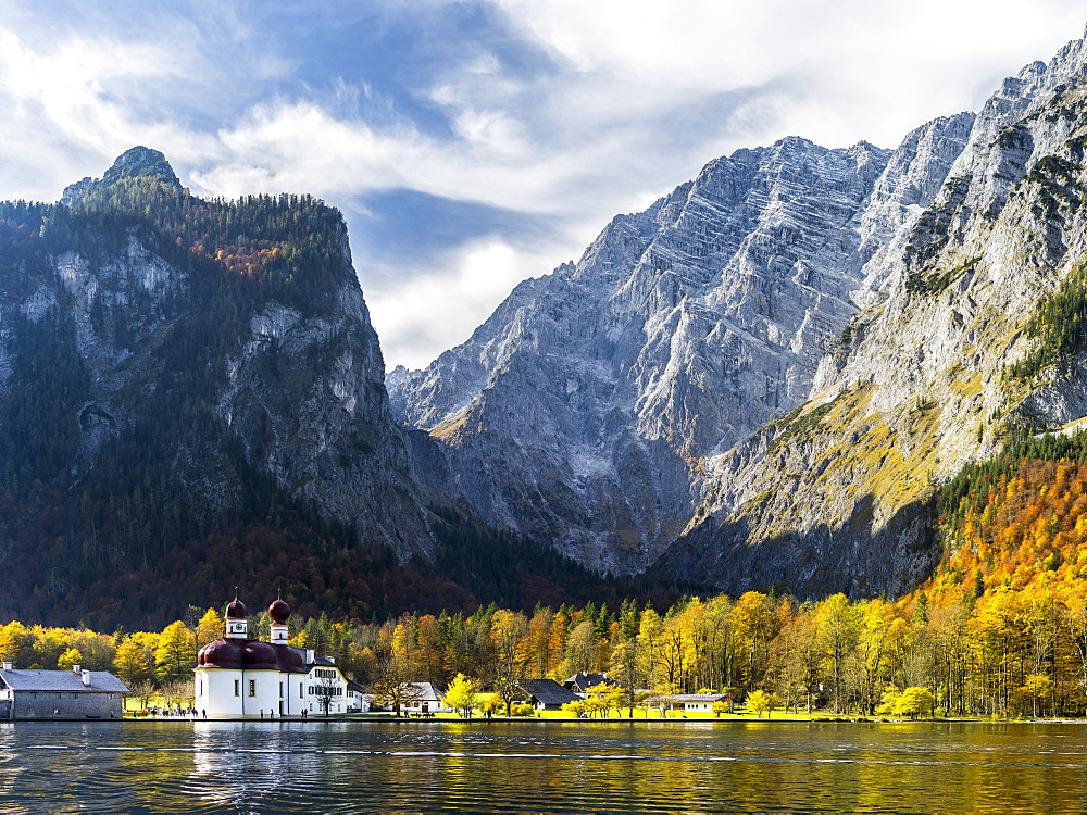 St. Bartholomae chapel at the shore of lake Koenigssee in the NP Berchtesgaden. Europe, Central Europe, Germany, Bavaria, October