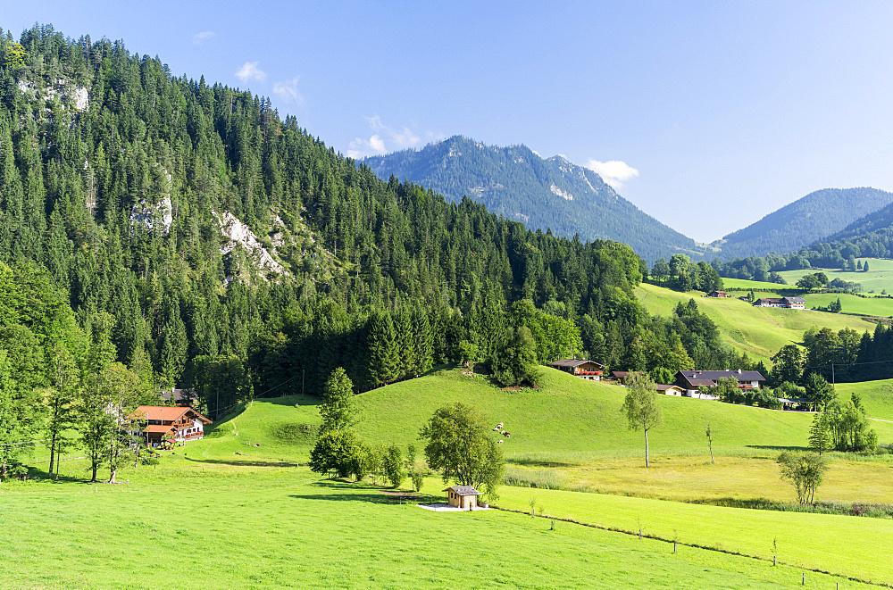 Landscape in the region Berchtesgadener Land near Ramsau village.Europe, Central Europe, Germany, Bavaria, August
