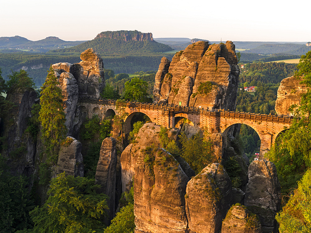 Elbe Sandstone Mountains (Elbsandsteingebirge) in the National Park Saxon Switzerland (Saechsische Schweiz). The famous Bastei Bridge and the Bastei rock formations.  Europe, central europe, germany, saxony, June