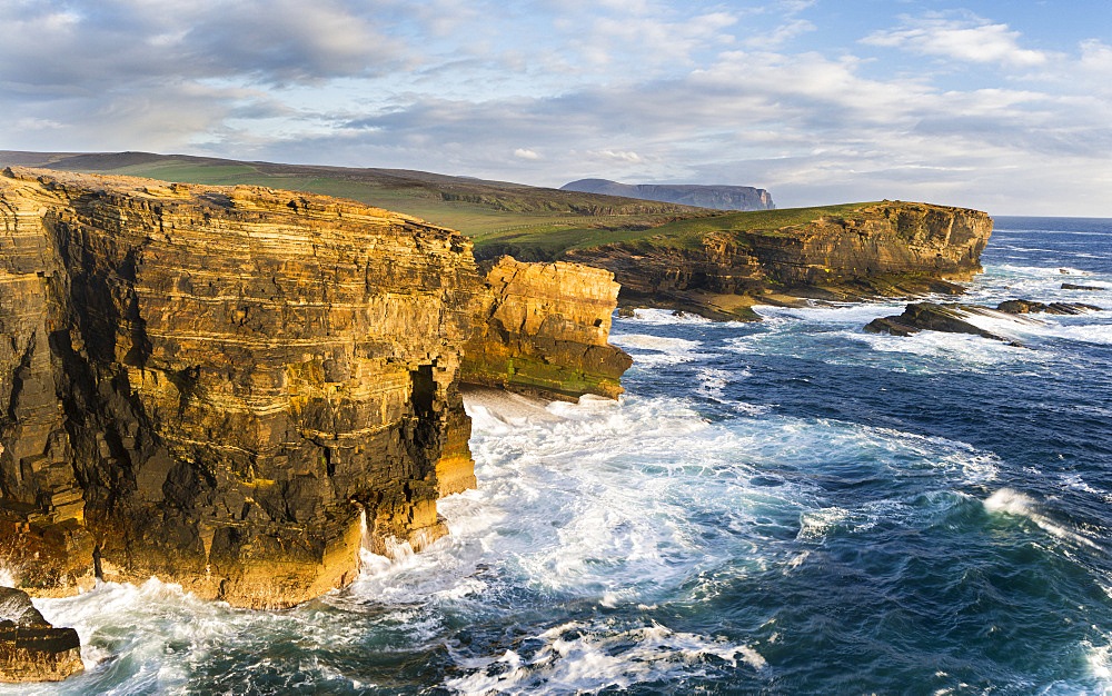 The Cliffs of Yesnaby in Orkeny, Scotland, during stormy weather and sunset.  europe, central europe, northern europe, united kingdom, great britain, scotland, northern isles,orkney islands, June