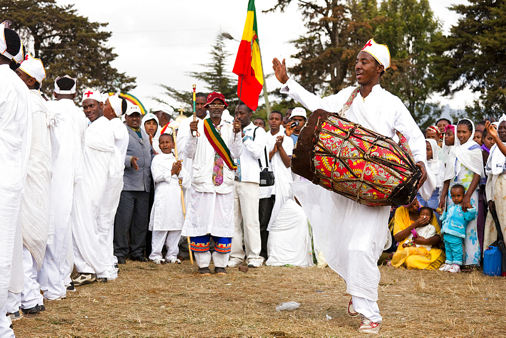 Groups of dancers and musicans are celebrating timkatTimkat cerimony of the ethiopian orthodox church, Timkat procession is entering the jan meda sports ground in Addis Ababa, where the three day cerimony takes place, Timkat  is also the celebration of the baptism of Jesus, for this purpose sacred water is distributed, Africa, East Africa, Ethiopia, Addis Ababa, Africa, East Africa, Ethiopia, Addis Ababa