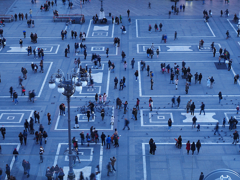 Rooftop of Galleria Vittorio Emanuele II, Highline walk, Aerial view, Piazza del Duomo square, Milan, Lombardy, Italy, Europe