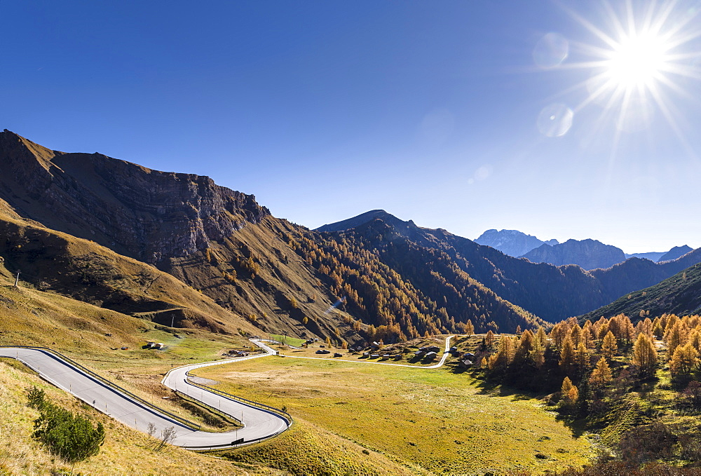 Road to Passo di Fedaia near mount  Marmolada in the Dolomites.  The Dolomites  are part of the UNESCO world heritage. Europe, Central Europe, Italy, October