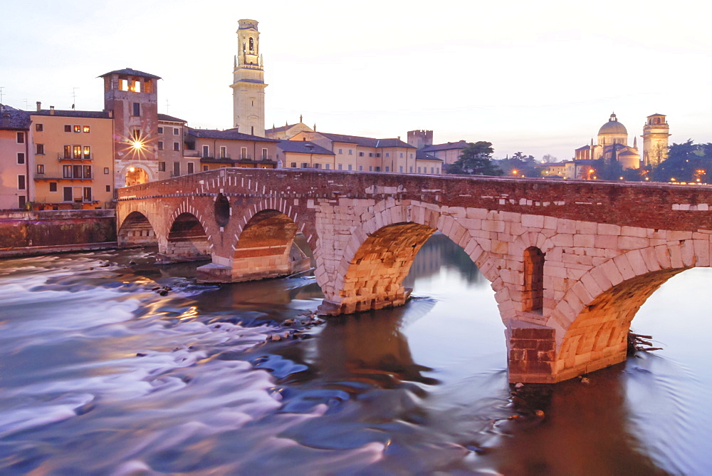 Stone Bridge, Night Landscape, Verona, Veneto, Italy, Europe