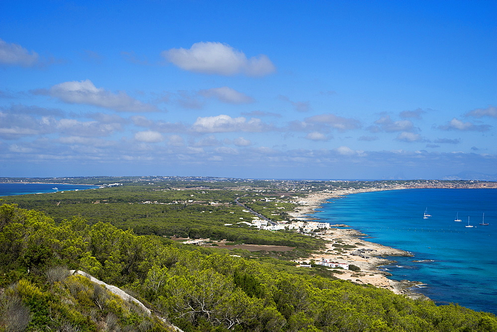 El Camí de Sa Pujada; Cami Romà, View from the path of the Roman path, Formentera, Balearic Islands, Spain