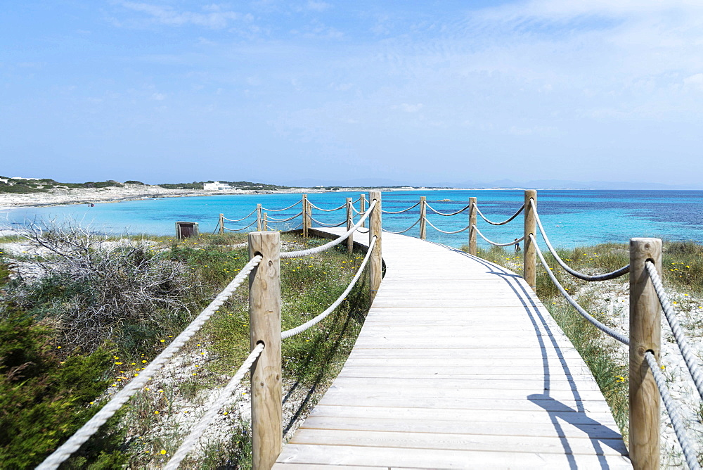 Seascape, Beach Playa de Ses Cañes, Landscape, Balearic Islands, Formentera, Spain