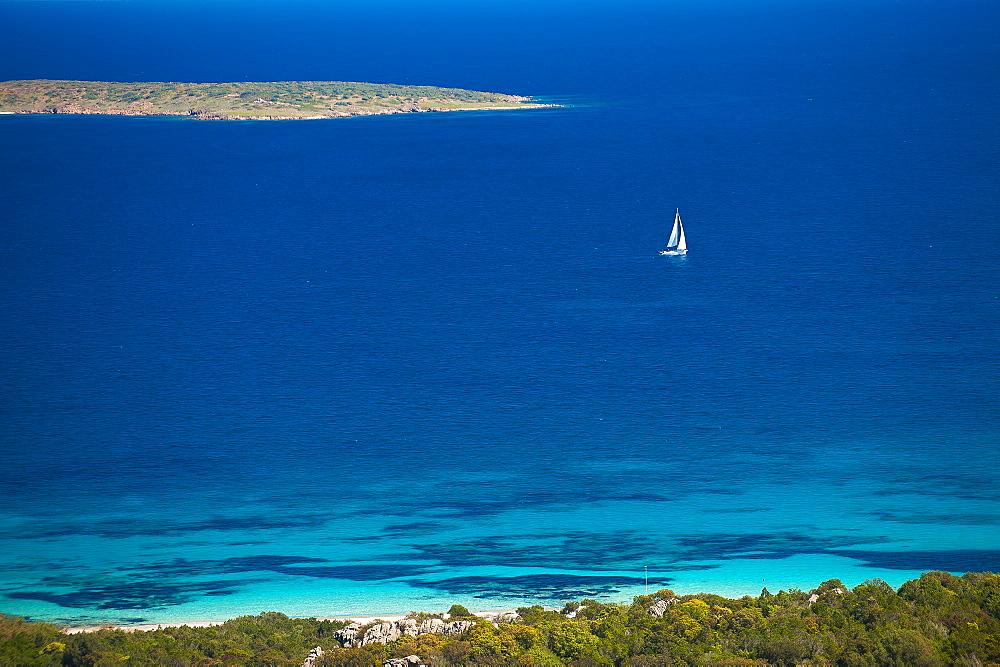 Liscia Ruja and Islet Soffi, Costa Smeralda, Arzachena, Sardinia, Italy, Europe - 746-88485
