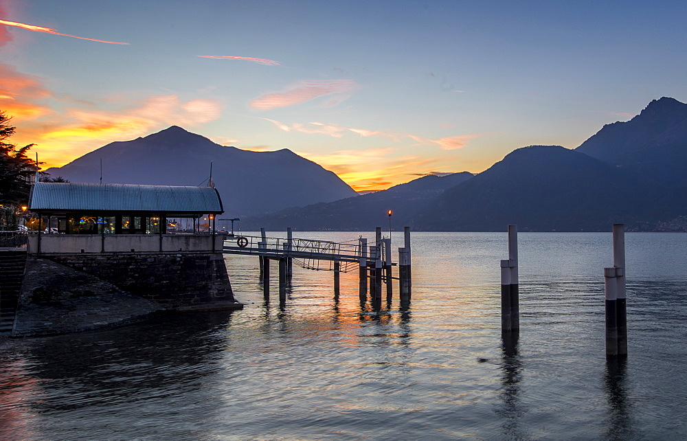 Sunset over the Lake of Como seen from Bellano, Lombardy, Italy, Europe - 746-88514