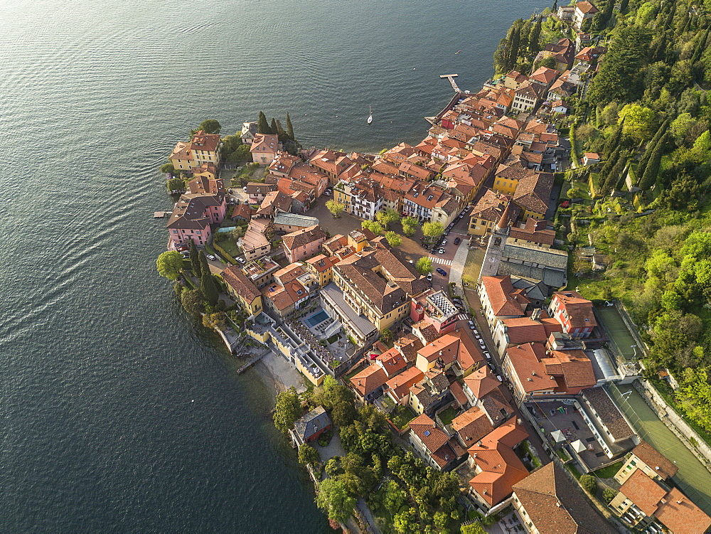 Aerial view of Varenna, and Como Lake, Lombardy, Italy, Europe (Drone) - 746-88516