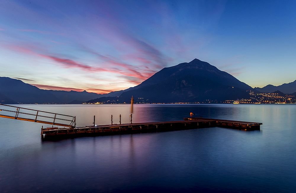 Pier at sunset, Varenna, Como Lake, Lombardy, Italy, Europe