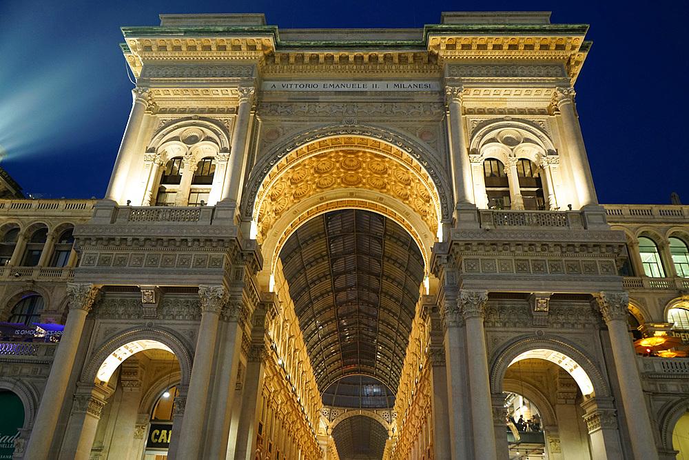 Galleria Vittorio Emanuele gallery, Piazza del Duomo square in the evening, Milan, Lombardy, Italy, Europe