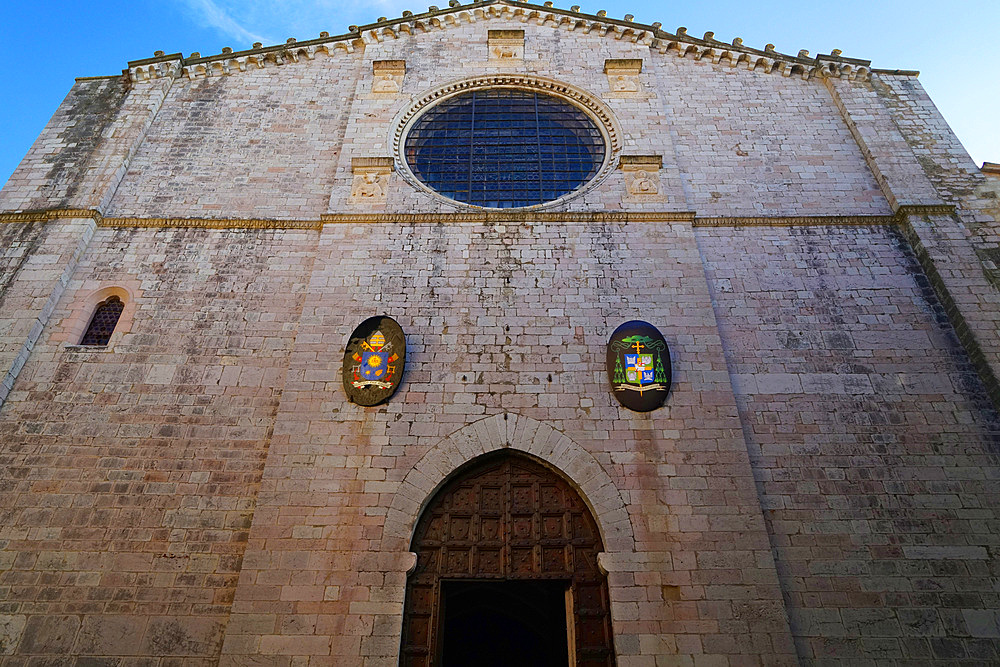 The fourteenth century façade of the Cathedral dedicated to the saints Giacomo and Mariano Gubbio, Umbria, Italy, Europe