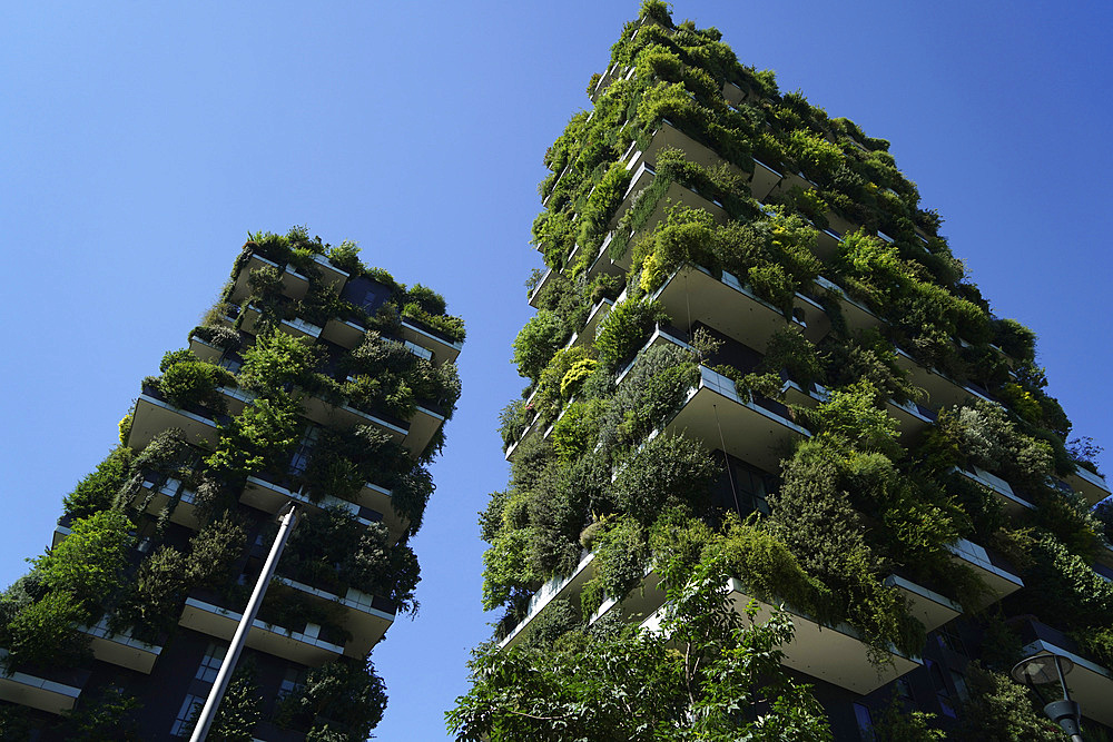 Bosco Verticale, Vertical Forest is a pair of residential towers designed by Boeri Studio in the Porta Nuova district, Bosco Verticale won the International Highrise Award, Milan, Lombardy, Italy, Europe - 746-88591