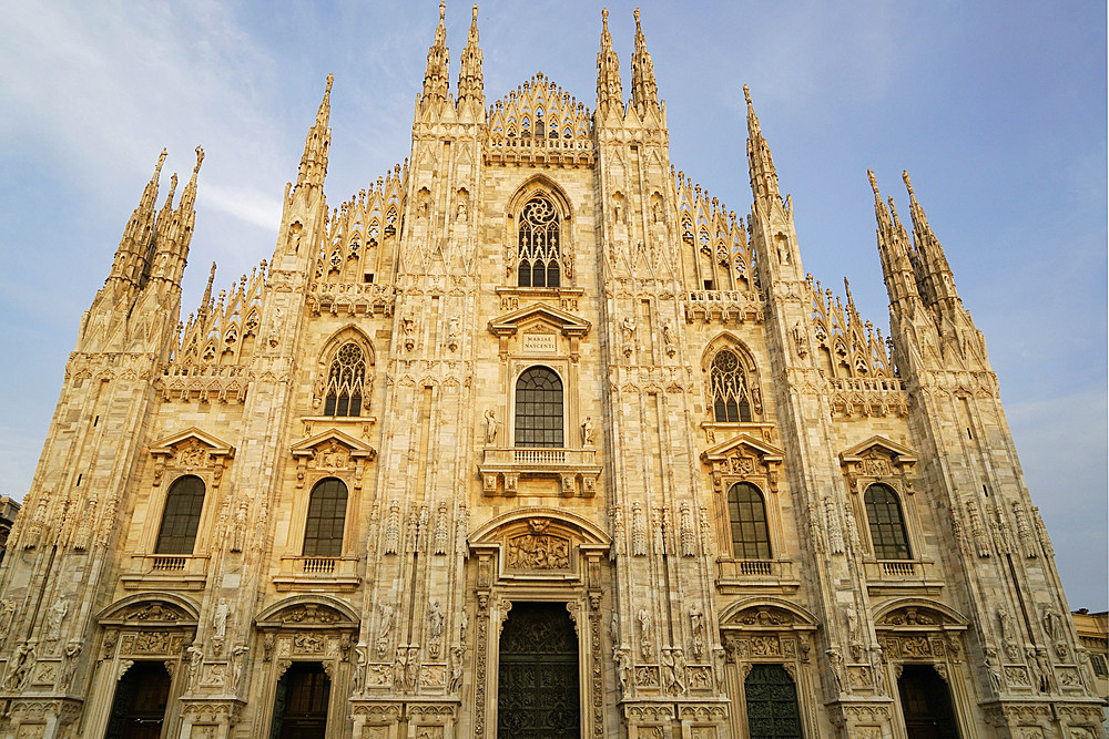 Facades of the Duomo at sunset, Milan, Lombardy, Italy, Europe